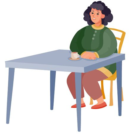 woman came to a cafe on a date and sits alone at a square table and waits, isolated object on a white background,