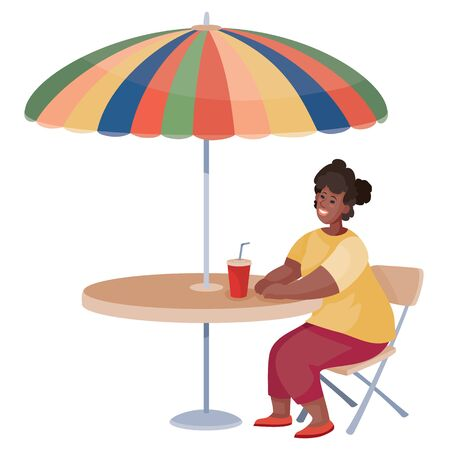 woman came to a cafe on a date and sits alone at a round table under an umbrella and waits, isolated object on a white background