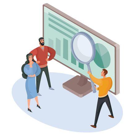 zwei Männer und eine Frau in der isometrischen 3D-Suche im Internet mit einer großen Lupe und einem Monitor, isoliertes Objekt auf weißem Hintergrund Vektorgrafik