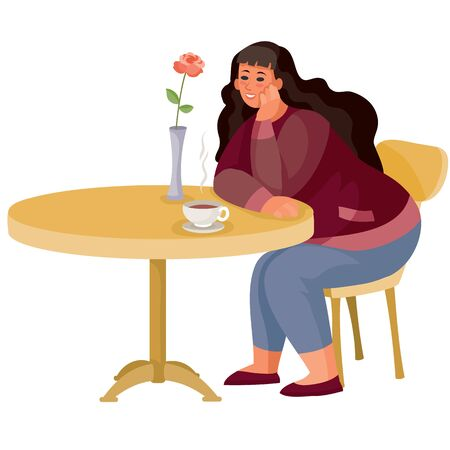 woman came to a cafe on a date and sits alone at a round table and waits, isolated object on a white background, vector illustration