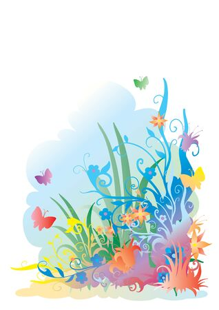 Ornament with a multi-coloured grass, colors, butterflies and with a blue background