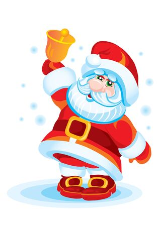The grandfather a frost in a red suit and a cap, with a handbell in a hand