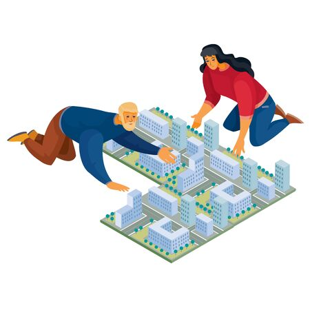 3d isometry, man and woman build a city map on the floor from modem houses, isolated object on a white background, vector illustration