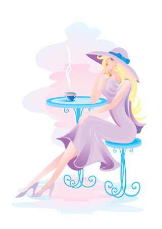 woman in a big hat sits in a cafe at a table, vector illustration