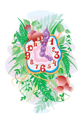 clock with birds and green branches, vector illustration