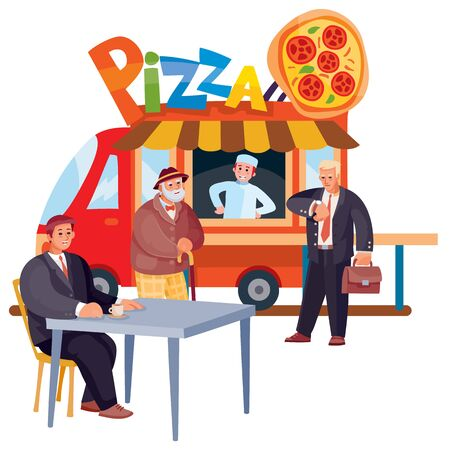 a man sits at a table next to a truck selling pizza, an elderly man and a businessman want to buy food, isolated object on a white background, vector illustration