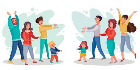 un groupe d'hommes et de femmes accueille joyeusement un autre groupe de personnes avec des enfants, illustration vectorielle