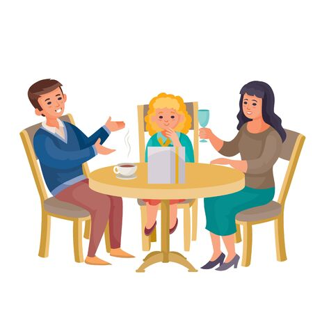 man, woman and girl are sitting at a round table with a woman holding a glass in front of a man a cup of coffee on the table is a gift, vector illustration Иллюстрация