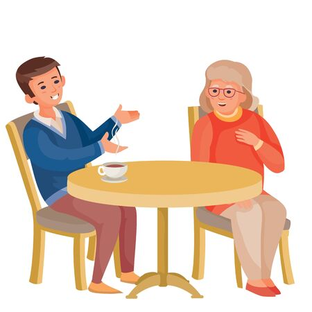 young man sitting at the same table with an old woman, they are having a conversation, vector illustration