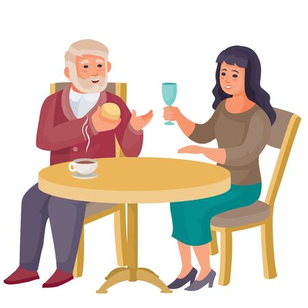 young woman sits at the same table with an elderly man, they are having a conversation, vector illustration