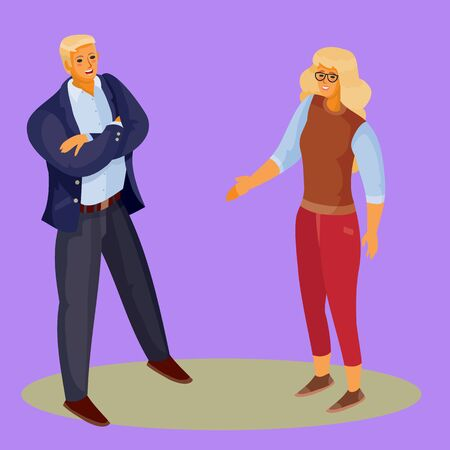 a woman with blond hair and red trousers holds out her hand for initiation to a man, and he stands with his legs spread and arms crossed, purple background, separate layers, vector illustration