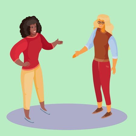 woman in red trousers and blond hair holds out her hand to greet an African American woman, woman in blond trousers and with dark loose hair holds out her hand in response, green background, separate layers, vector illustration