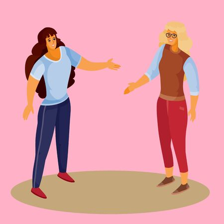 woman with blond hair and red trousers holds out her hand to greet the woman, woman in dark trousers and dark loose hair holds out her hand in response, pink background, separate layers, vector illustration