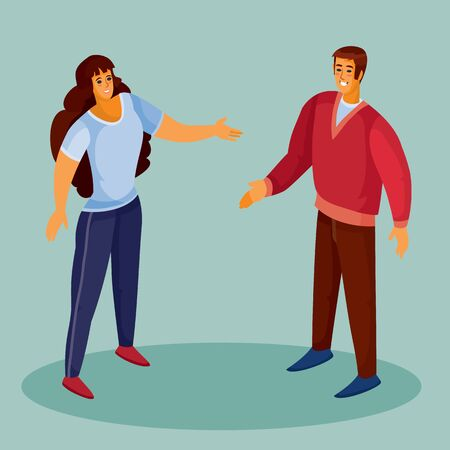 a man in a red sweater holds out his hand to greet a woman, a woman in dark trousers and with dark loose hair holds out his hand in response, blue background, separate layers, vector illustration Ilustração