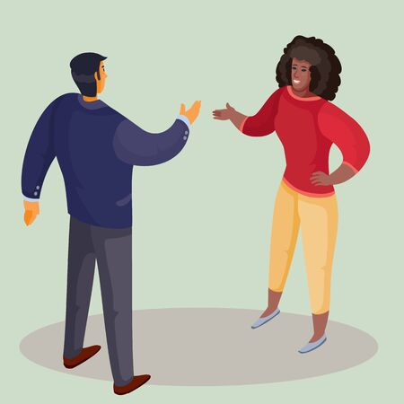 a man in a dark jacket stands with his back and holds out his hand for greeting to an African-American woman, a woman in bright trousers and with dark loose hair holds out his hand in response, light background, separate layers, vector illustration