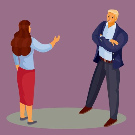 a woman in a red skirt stands with her back and holds out her hand to greet the man, and he stands with his legs spread and arms crossed on his chest, dark violet background, separate layers, vector illustration Vettoriali