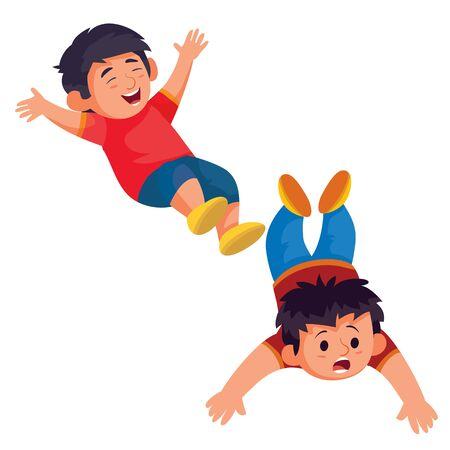 ensemble de deux garçons, l'un allongé sur le ventre, l'autre sautant amusant, objet isolé sur fond blanc, illustration vectorielle Vecteurs