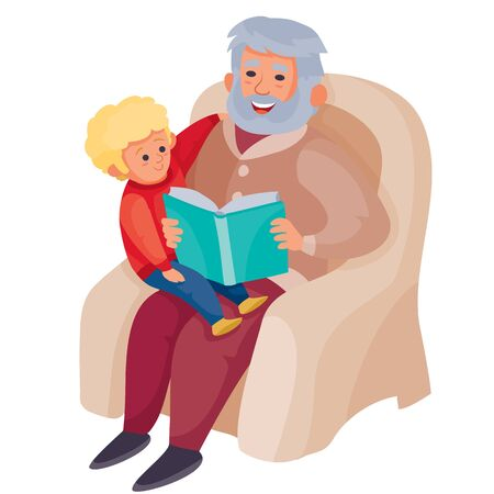 grandfather is sitting in a cozy large armchair and sitting on his lap inside, to whom he is reading a book of fairy tales, vector illustration, isolated object on a white background