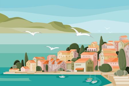 Mediterranean landscape with sea, mountains, beach and small houses with red roofs and seagulls flying over it all, Vektorgrafik