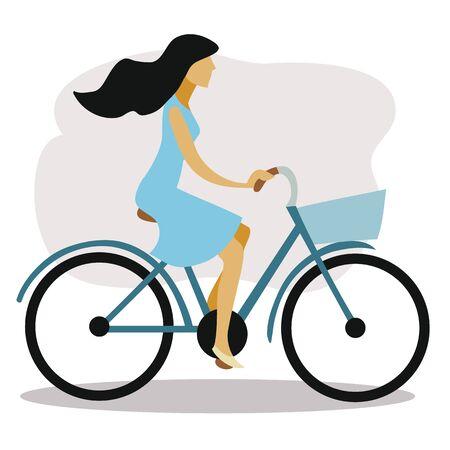 chica con un vestido azul y con cabello oscuro monta una bicicleta y el cabello se desarrolla en el viento, ilustración vectorial