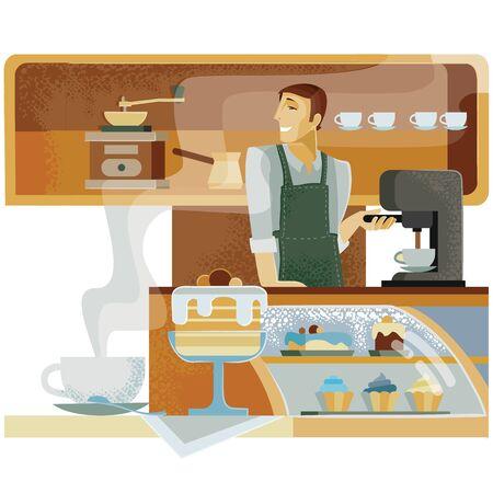 en el café detrás de la barra se encuentra el barista y le hace a alguien café, sonreír, servicio, personal, dueño,