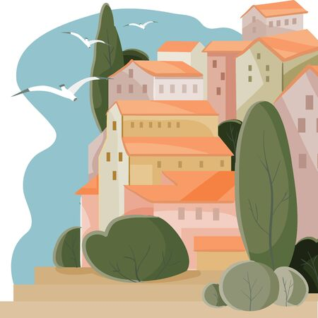 Bay seaside town landscape with cypress houses and blue sky, rest, vacation, calm, measured, vector illustration