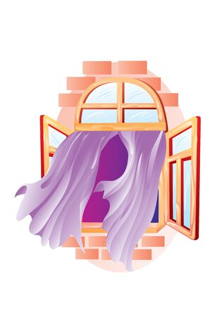 the decorative window is open wide and curtains develop from it