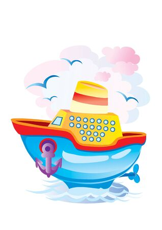 color steamer sailing in the sea, vector