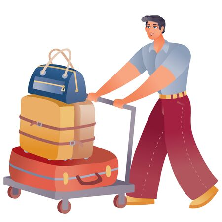 man at the airport pushes a big trolley in front of him with suitcases and hurries to land the plane, isolated object on a white background Ilustrace