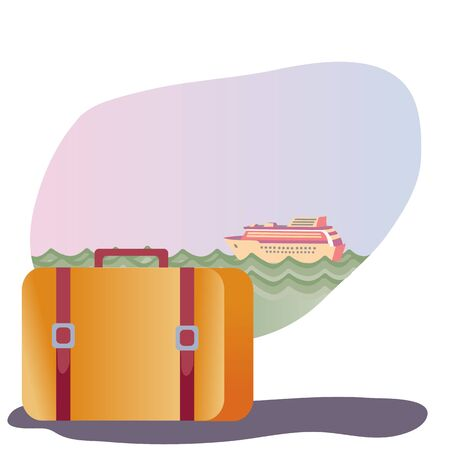 brown suitcase stands against the backdrop of a cruise ship that floats on the sea,