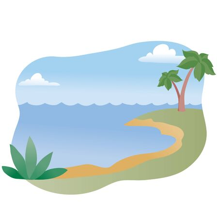 background of the sea and palm trees, beach, serenity, relaxation, tranquility, vector illustration