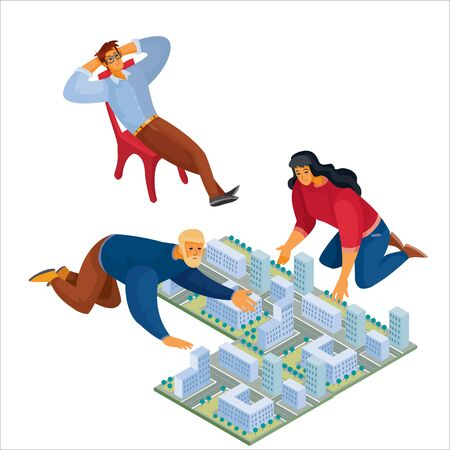 3d isometry, man and woman leaned over the layout of the city, a man sits in a chair and thoughtfully laid his hands behind his head, fatigue, idea, isolated object on a white background, vector illustration
