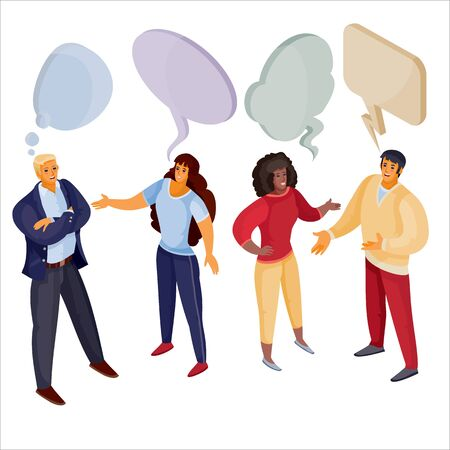 3d isometry, a set of men and women who are talking to each other above their heads a cloud, dispute, isolated object on a white background, vector illustration
