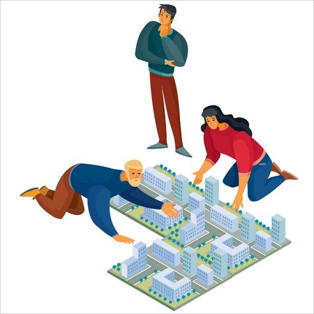 3d isometry, man and woman leaned over the layout of the city, the man stands and thoughtfully look at the map, isolated object on a white background, vector illustration