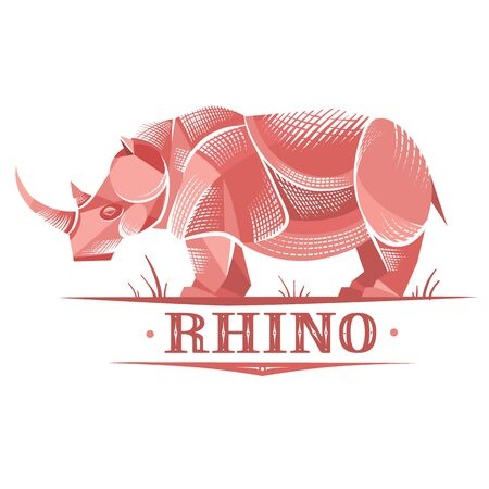 stylized rhino on a white background, strength power, stability, weight, can be used for logo Ilustrace