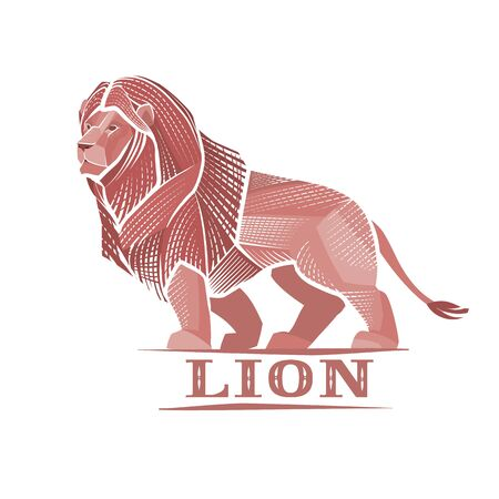 stylized lion on a white background, power, strength, solidity, logo,