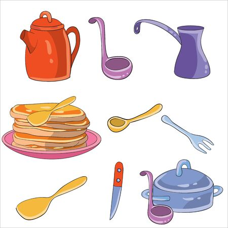 set of kitchen utensils and pancakes, isolated object on a white background