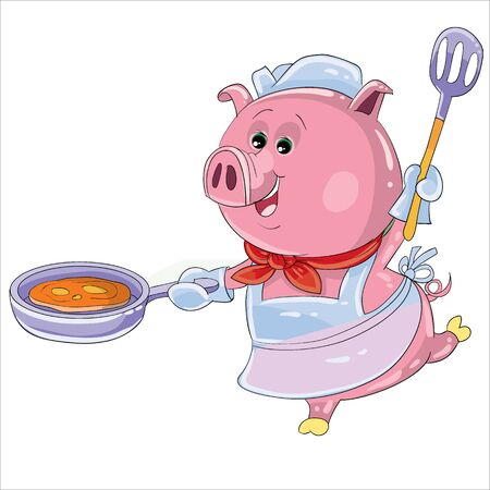a pig as a cook prepares food in a pan and dances, isolated object on a white background