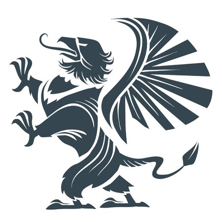 stylized griffin as a coat of arms, can be used as a logo, black, strength, power