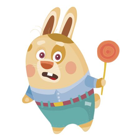 hare in a blue shirt and green pants holds a candy on a stick in his paw, surprise, confusion, isolated object on a white background, vector illustration  イラスト・ベクター素材