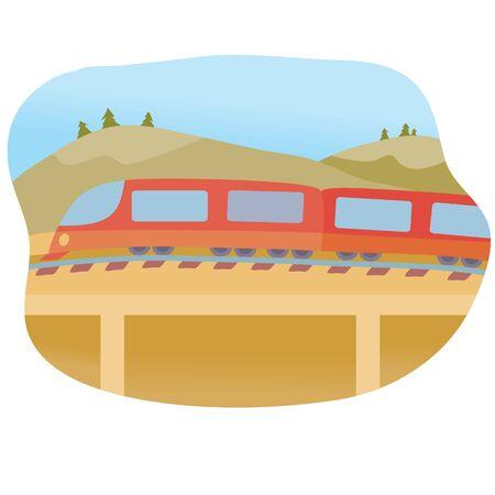 train rides on a high bridge in summer, Ilustração