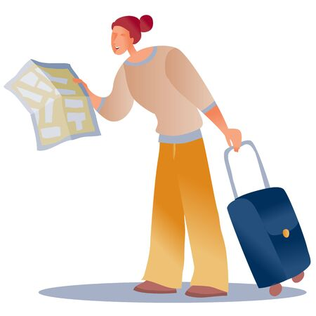 woman with a suitcase and a map in her hands looking for a way out or a certain building, lost, isolated object on a white background Illustration