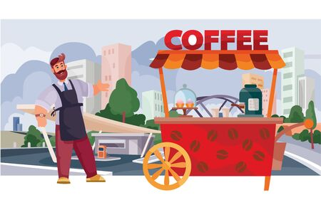coffee seller with a street cart for the sale of coffee, fast food, food, against the background of a big city with skyscrapers and houses, vector illustration