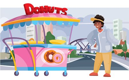 donut seller with a street cart for sale, fast food, food, against the background of a big city with skyscrapers and houses, vector illustration Stock Illustratie