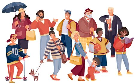 a crowd of women, adolescents, the elderly, businessmen, athletes with a dog, ball, phone, umbrella on a white background and on separate layers, vector illustration Ilustracja