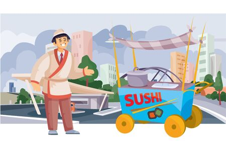 sushi seller with a street cart for sale, fast food, food, against the background of a big city with skyscrapers and houses, vector illustration