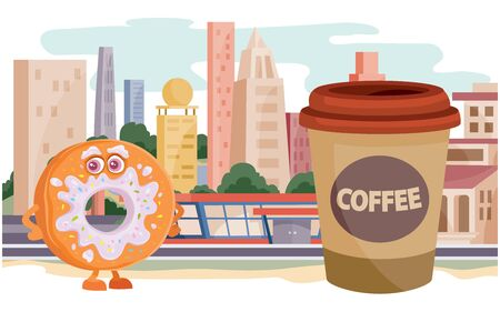 donut character and a glass of coffee on the background of large houses, street food, fast food,