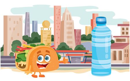 taco character and water bottle on the background of the big city,