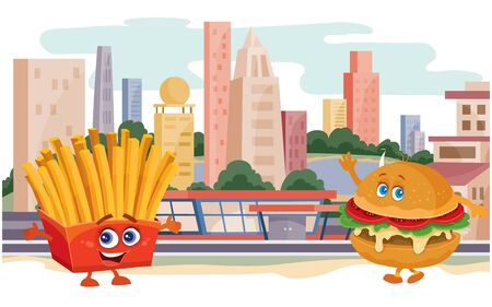 hamburger character and french fries character in a red box waving hands against the background of a big city and houses, meeting, food, Ilustração