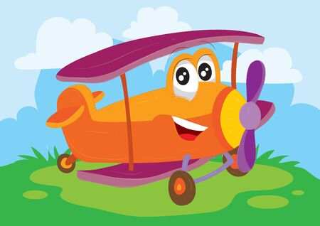 funny airplane character with big eyes in red stands in a green meadow under a blue sky,